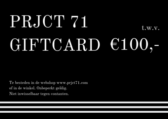 PRJCT 71 Giftcard 100 euro